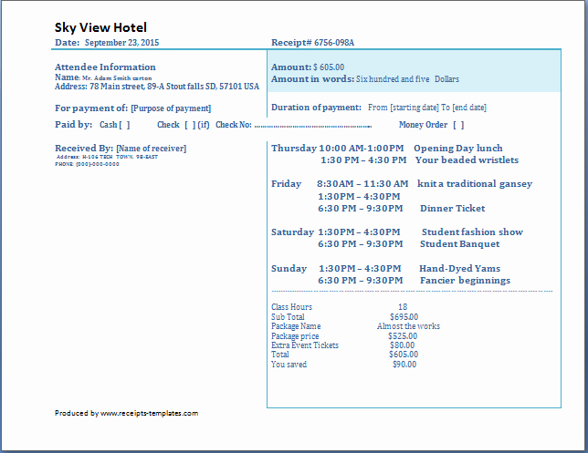 How to Write A Reciept Inspirational 4 Free Hotel Receipt Templates Word Excel Pdf formats