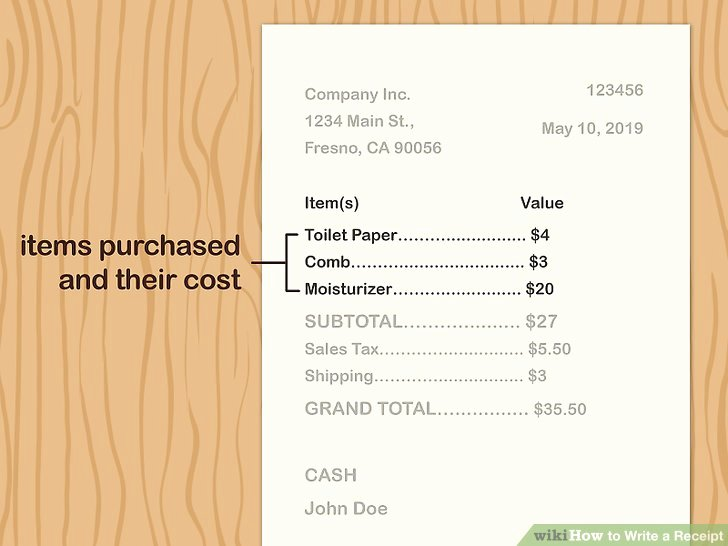 How to Write Receipt Elegant 3 Ways to Write A Receipt Wikihow