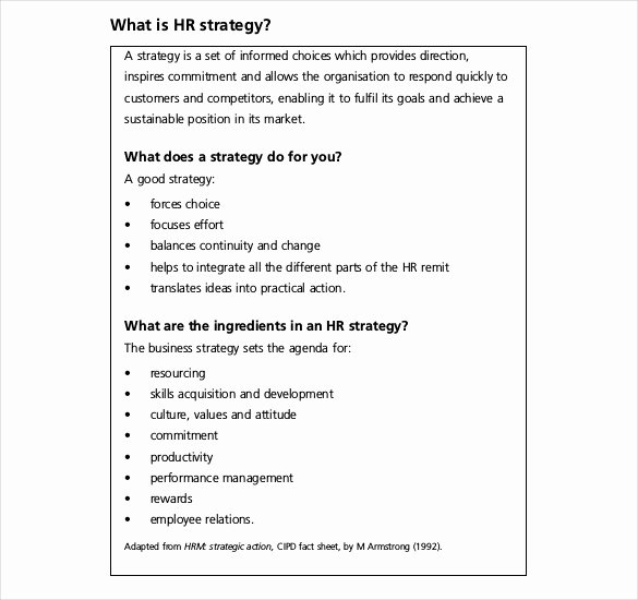 Hr Strategic Plan Template Awesome 26 Hr Strategy Templates Free Sample Example format