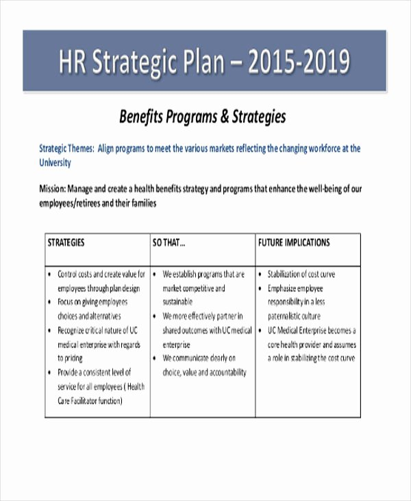 Hr Strategic Plan Template New 44 Strategic Plan Samples