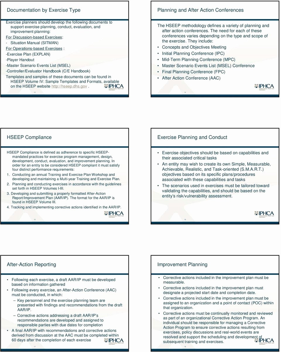 Hseep Exercise Plan Template New the Homeland Security Exercise and Evaluation Program