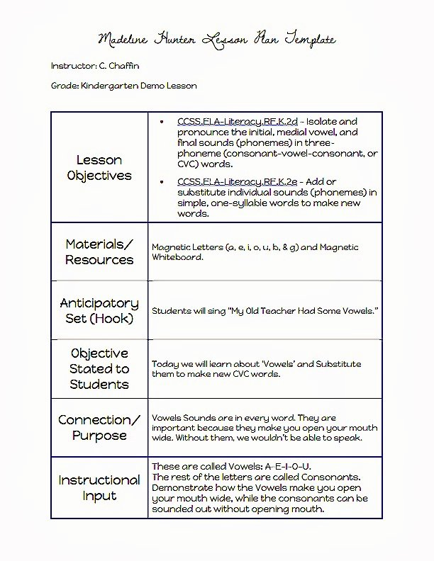 Hunter Lesson Plan Template Awesome Mon Core Blogger Madeline Hunter Lesson Plan Template