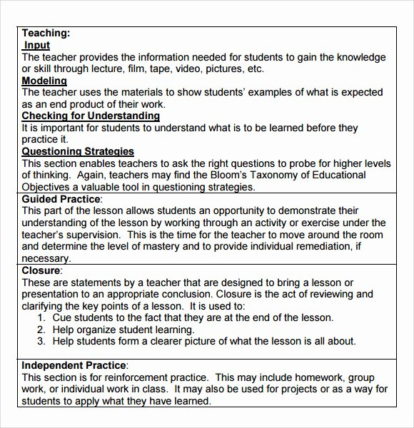 Hunter Lesson Plan Template Beautiful 9 Madeline Hunter Lesson Plan Templates Download for Free
