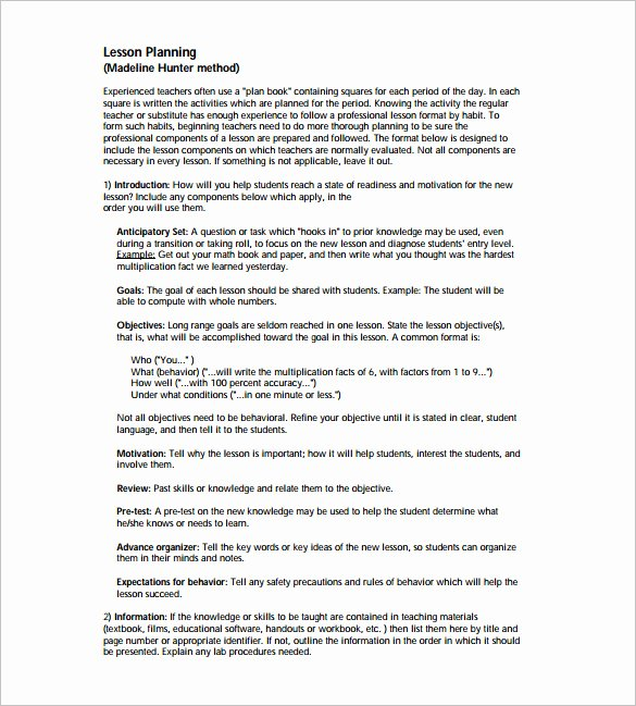 Hunter Lesson Plan Template Best Of Madeline Hunter Lesson Plan Template