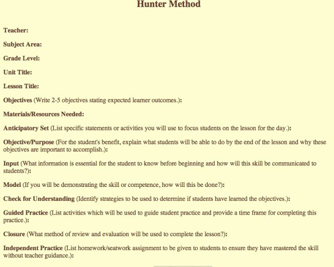 "Hunter Lesson Plan Template Best Of Search Results for ""madeline Hunter Lesson Plan Template"