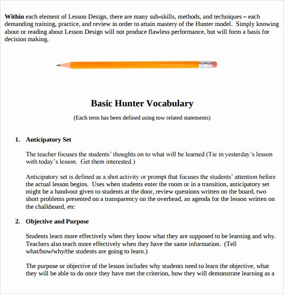 Hunter Lesson Plan Template Inspirational 9 Madeline Hunter Lesson Plan Templates Download for Free