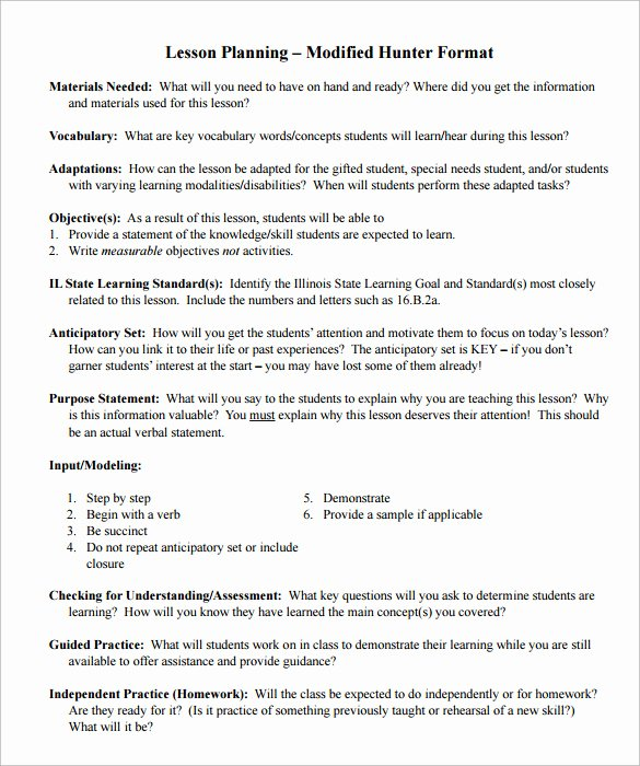 Hunter Lesson Plan Template Lovely 12 Sample Madeline Hunter Lesson Plans