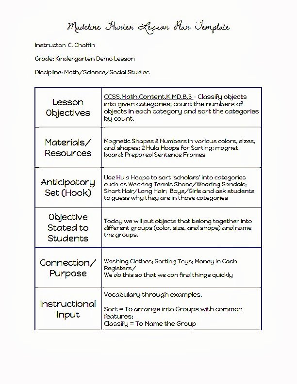 Hunter Lesson Plan Template Luxury Madeline Hunter Lesson Plan Template