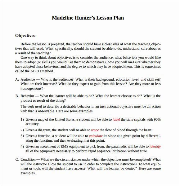 Hunter Lesson Plan Template New 9 Madeline Hunter Lesson Plan Templates Download for Free