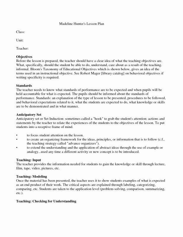 Hunter Lesson Plan Template New Madeline Hunter Lesson Plan Template Pdf Archives 2019