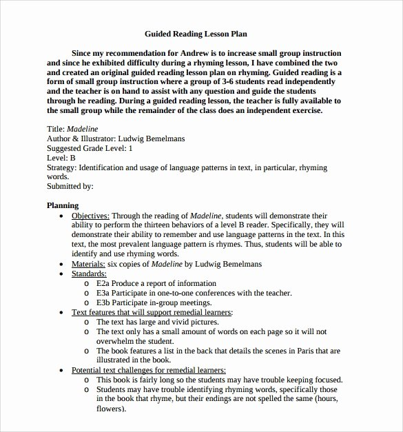 Hunter Lesson Plan Template Unique Sample Guided Reading Lesson Plan Template – 9 Free