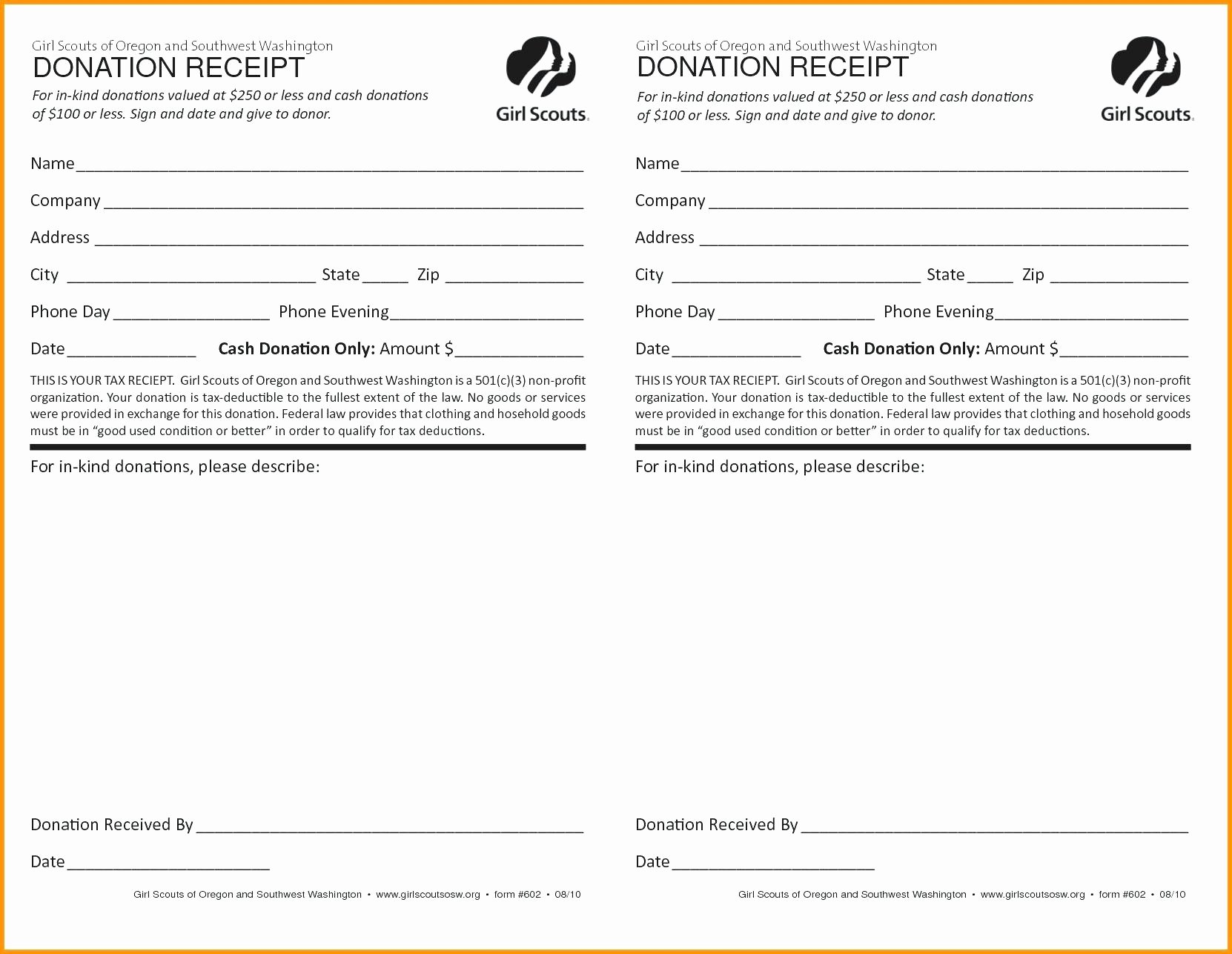 I Need A Receipt New In Kind Donation form – Campuscareer