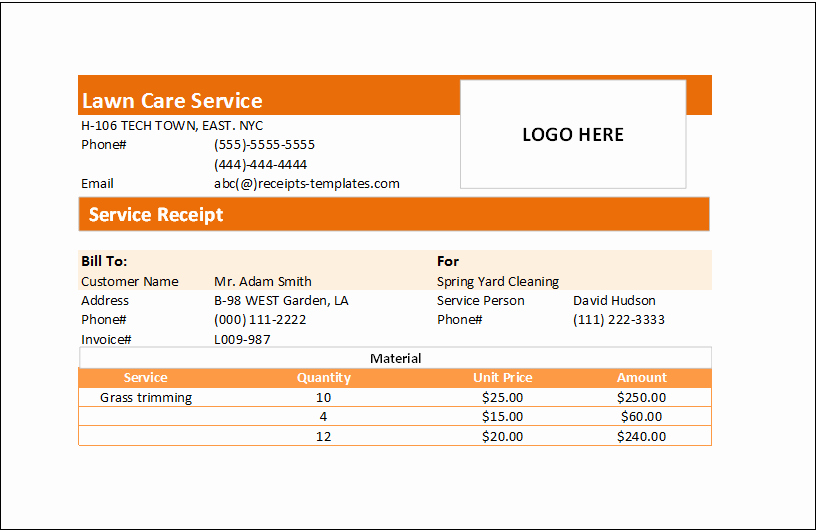 I Need A Receipt New Ms Excel Handyman Receipt Template