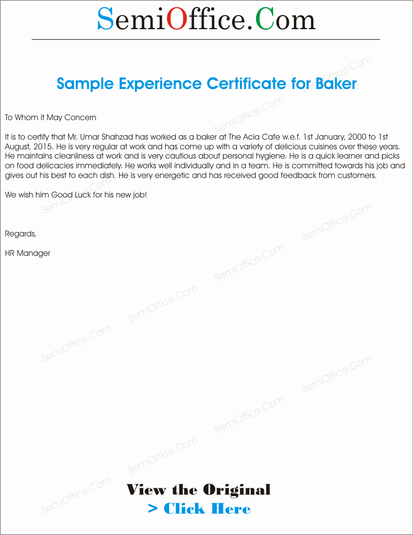 I140 Experience Letter format Beautiful Experience Letter format for Baker