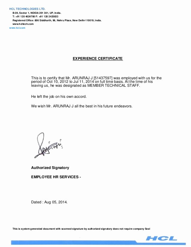 I140 Experience Letter format Fresh Experience Letter