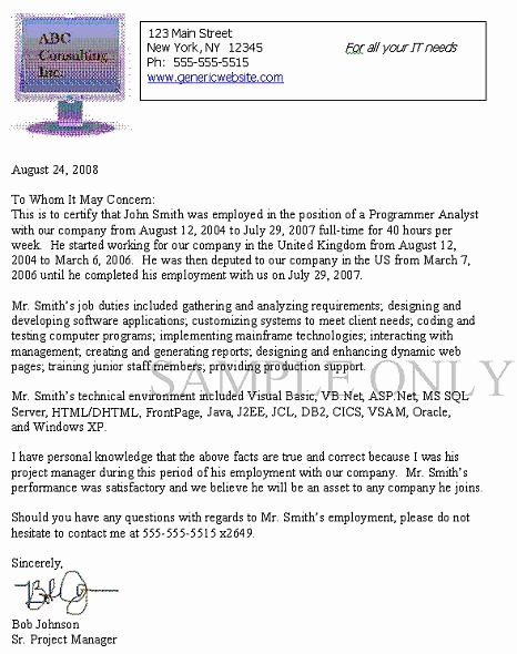 I140 Experience Letter format Fresh Joseph Kallabat & associates P C Immigration attorney