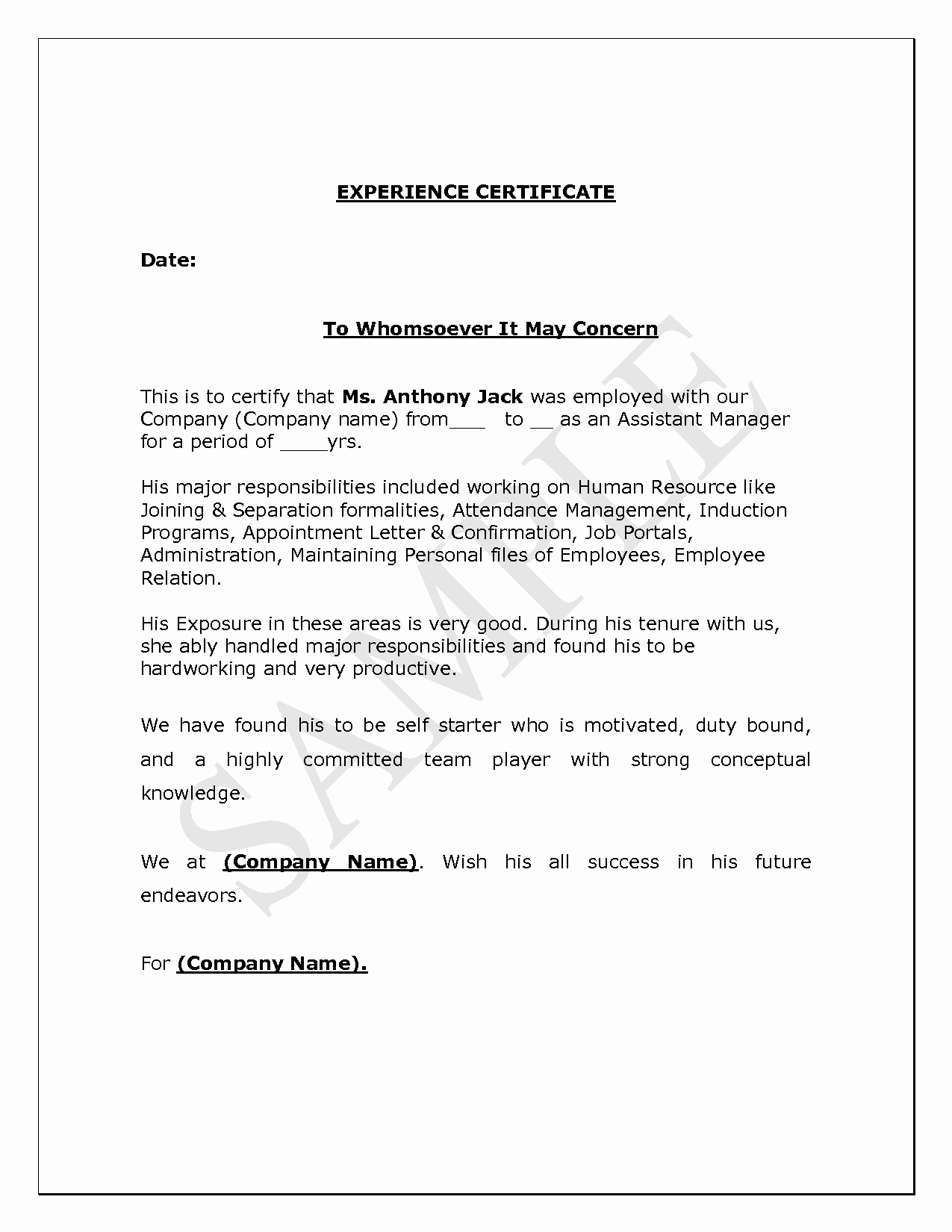 I140 Experience Letter format Fresh Teaching Experience Certificate format Doc Lawteched