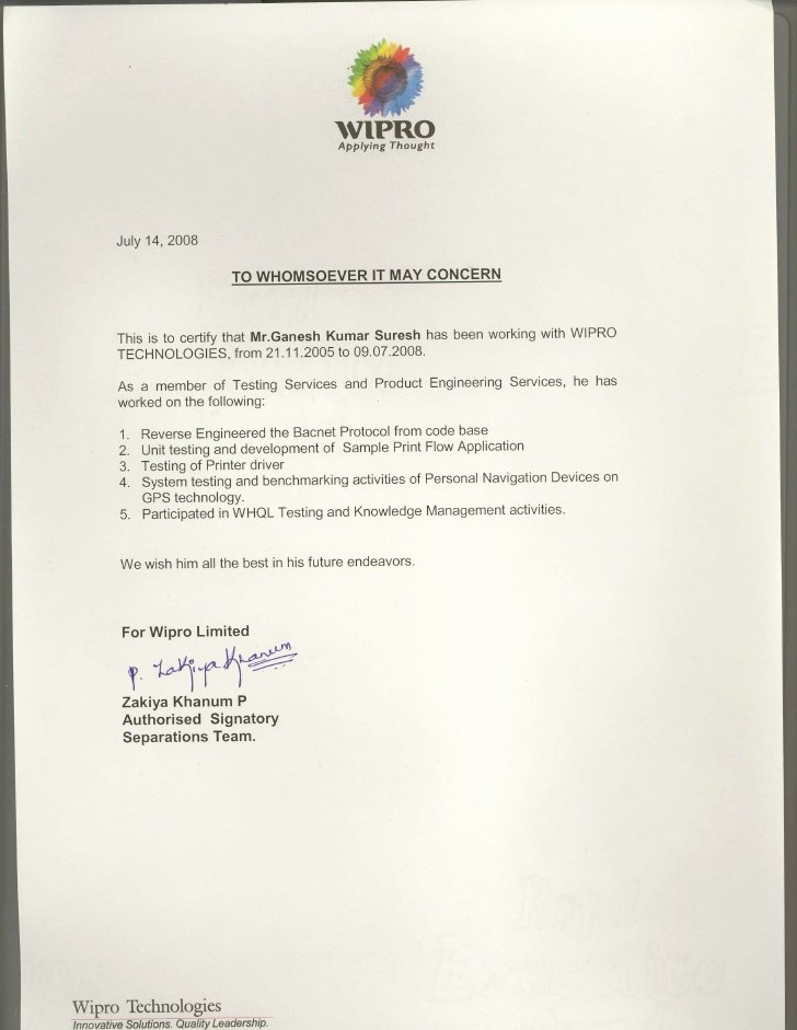 I140 Experience Letter format Fresh Wipro Experience