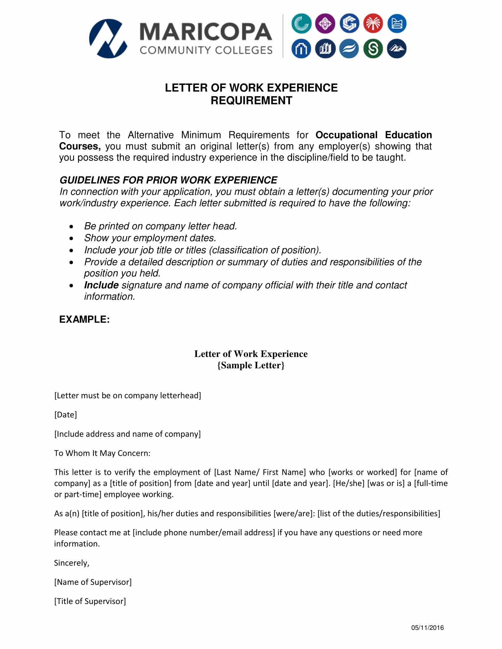 experience letter templates