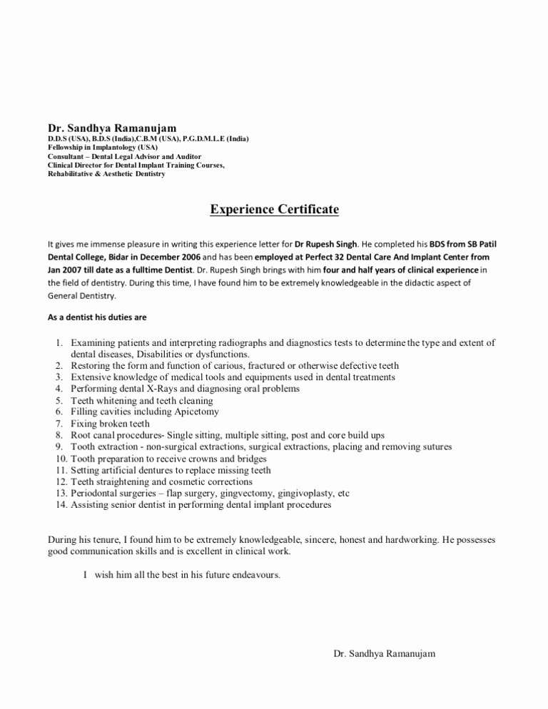 I140 Experience Letter format Inspirational Experience Letter format
