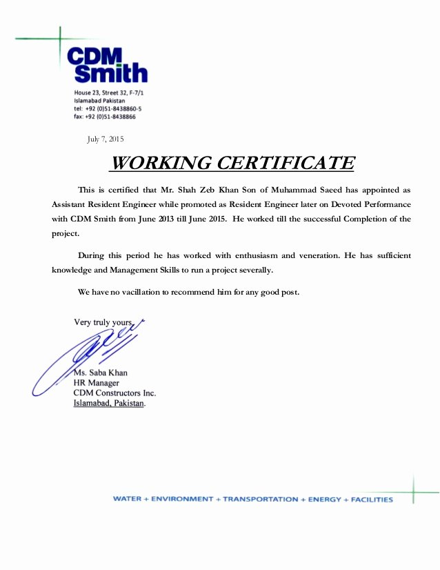 I140 Experience Letter format Lovely Cdm Smith Experience Letter