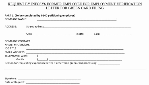 I140 Experience Letter format Lovely Obtaining Infosys Employment Verification Letter – Shalady