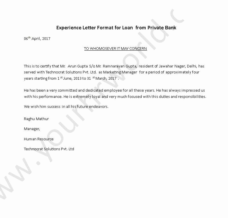 I140 Experience Letter format New Experience Certificate Letter format for Loan From Private
