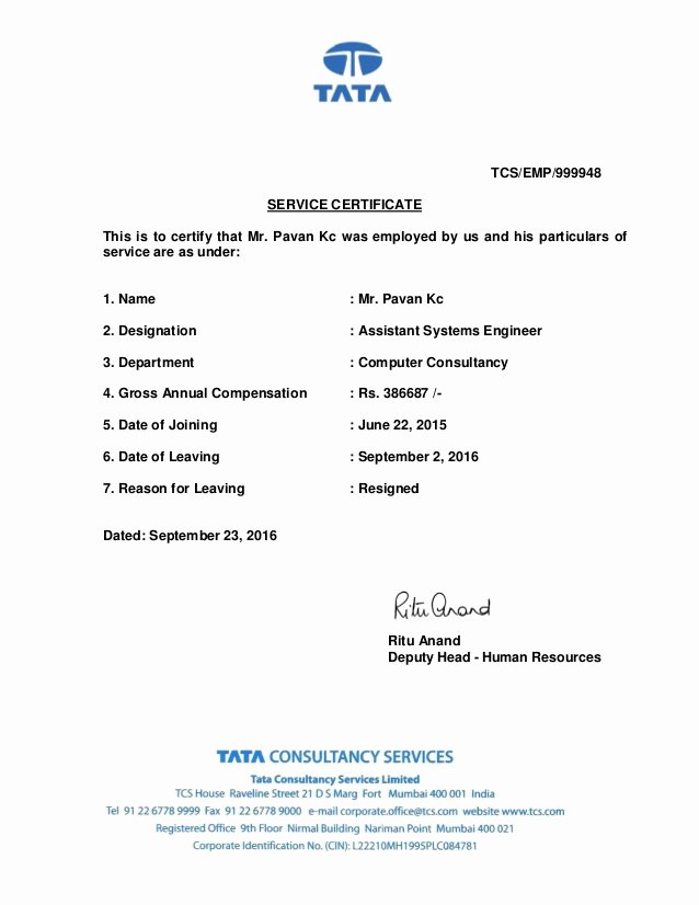 I140 Experience Letter format New Tcs Experience Letter
