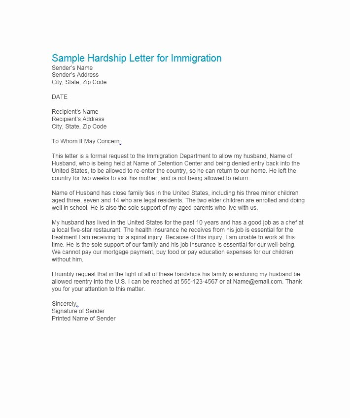 Immigration Hardship Letter format New 35 Simple Hardship Letters Financial for Mortgage for