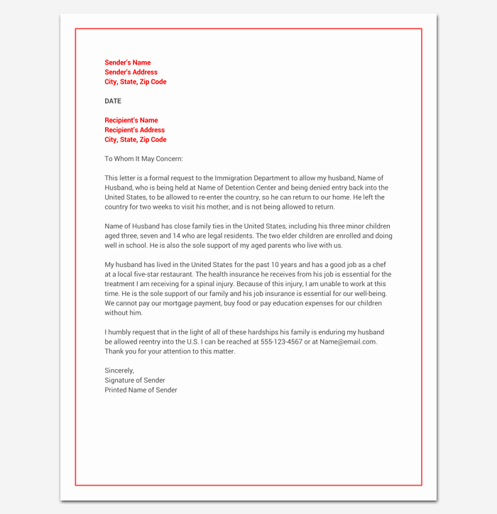 Immigration Hardship Letter format New Hardship Letter Template 10 for Word Pdf format