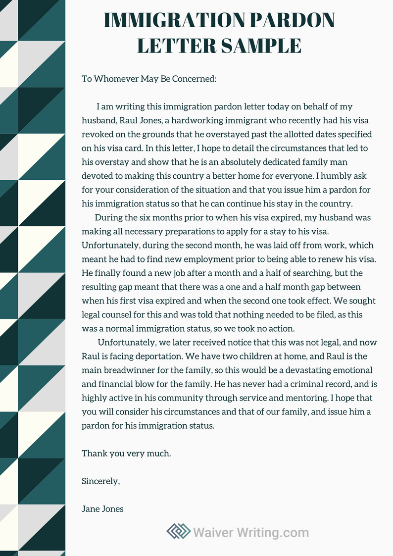 Immigration Hardship Letter format New Winning Immigration Pardon Letter