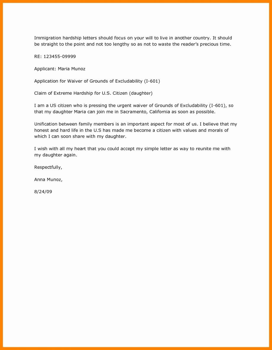 Immigration Hardship Letter format Unique Immigration Letters for A Friend Letter Marriage Hardship