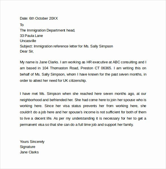 Immigration Letter Of Recommendation Best Of Personal Reference Letter Template 12 Samples