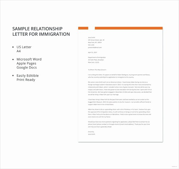 Immigration Letter Of Recommendation Inspirational Letter Re Mendation for Immigration