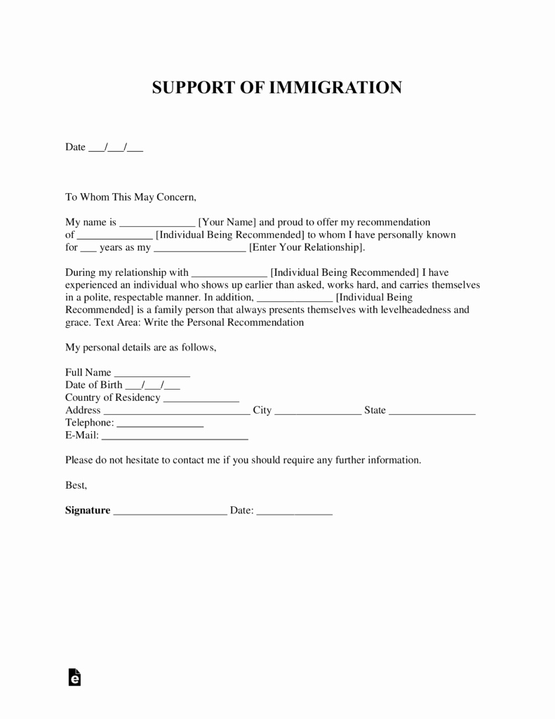 Immigration Letter Of Recommendation Sample Awesome Free Character Reference Letter for Immigration Template
