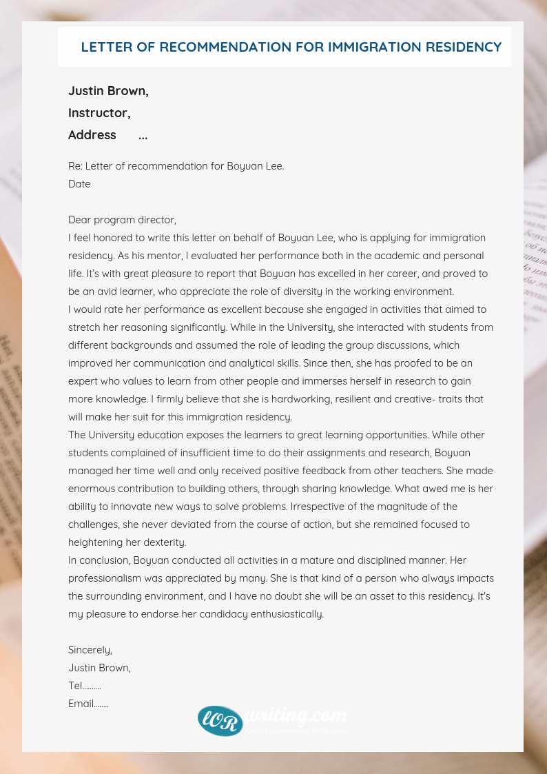 Immigration Letter Of Recommendation Sample Awesome Writing An Immigration Letter Of Re Mendation