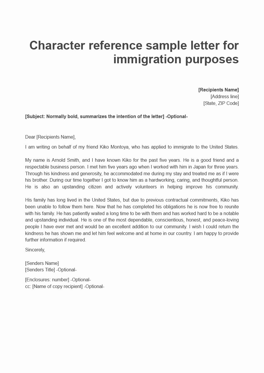 Immigration Letter Of Recommendation Sample Inspirational 36 Free Immigration Letters Character Reference Letters