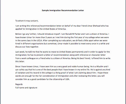 Immigration Recommendation Letter Template Elegant Sample Character Reference Letter for Citizenship 40