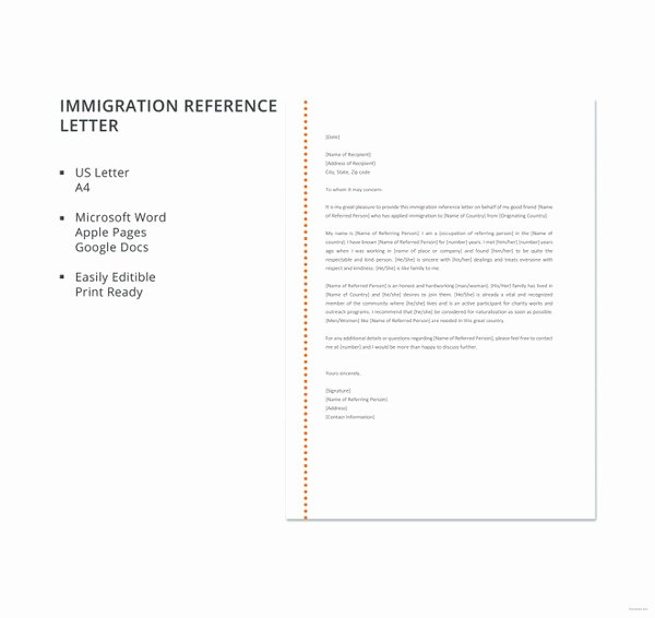 Immigration Recommendation Letter Template Unique 10 Immigration Reference Letter Templates Pdf Doc