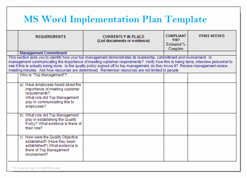Implementation Plan Template Excel Fresh Ms Word Implementation Plan Template – Microsoft Word
