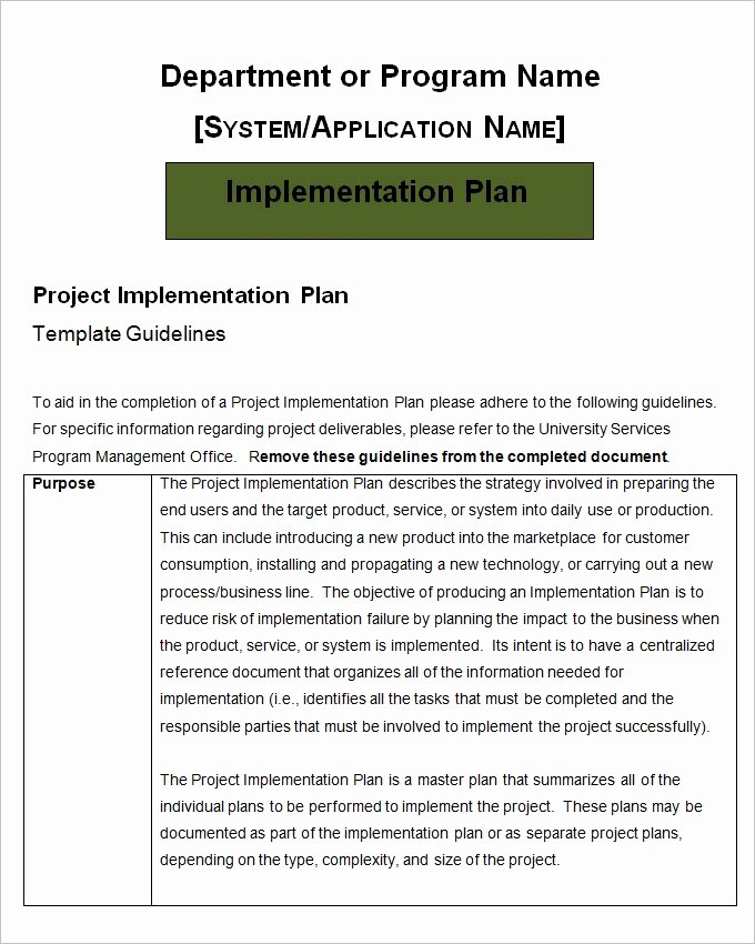 Implementation Plan Template Excel New Project Implementation Plan Template – 5 Free Word Excel