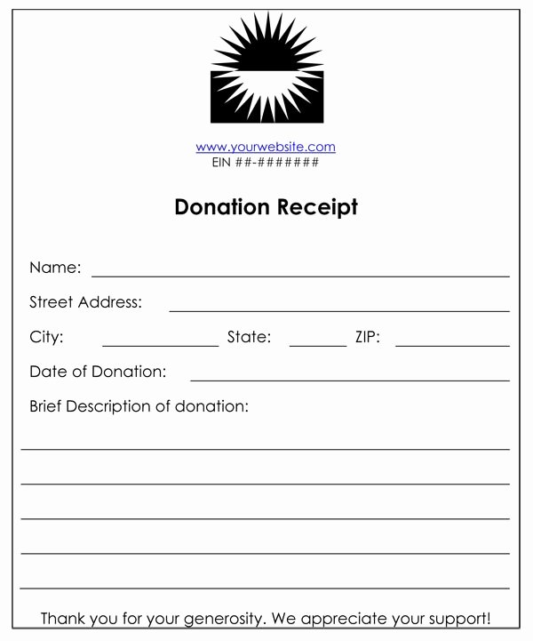 In Kind Donation Receipt Template Inspirational Non Profit Donation Receipt Template