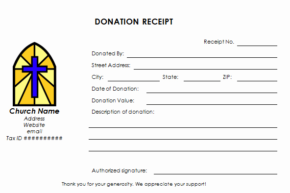 In Kind Donation Receipt Template New Church Donation Receipt Template