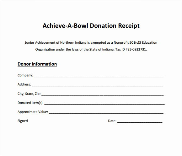 In Kind Donation Receipt Template Unique 10 Donation Receipt Templates – Free Samples Examples