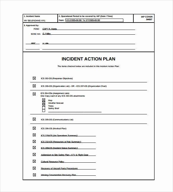 Incident Action Plan Template Fresh 8 Incident Action Plan Templates
