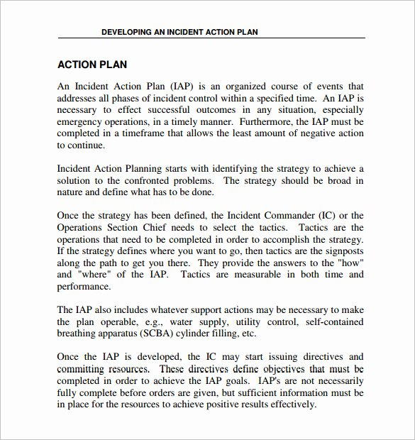 Incident Action Plan Template New 6 Incident Action Plan Templates Doc Pdf