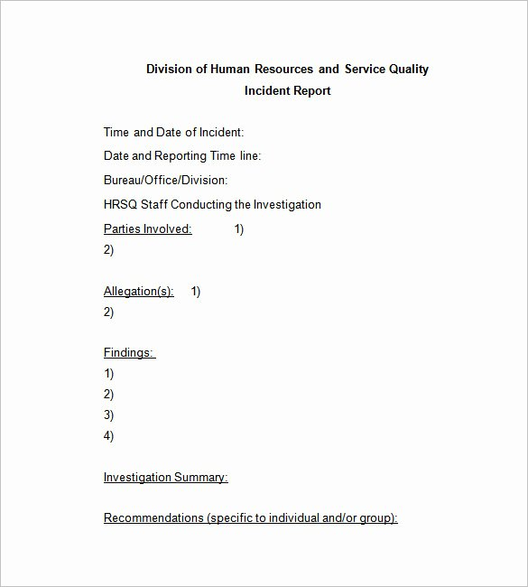 Incident Report format Letter Inspirational 50 Incident Report Templates Pdf Docs Apple Pages