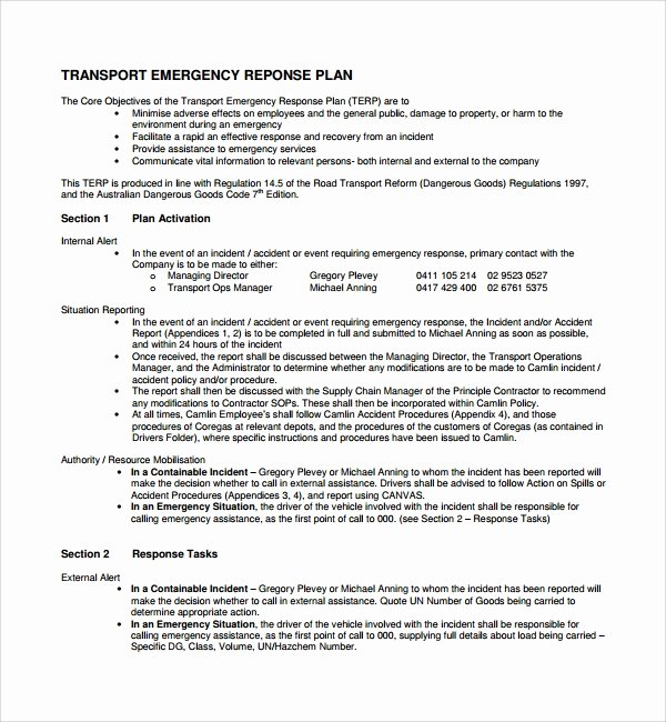 Incident Response Plan Template Elegant 10 Emergency Response Plan Templates