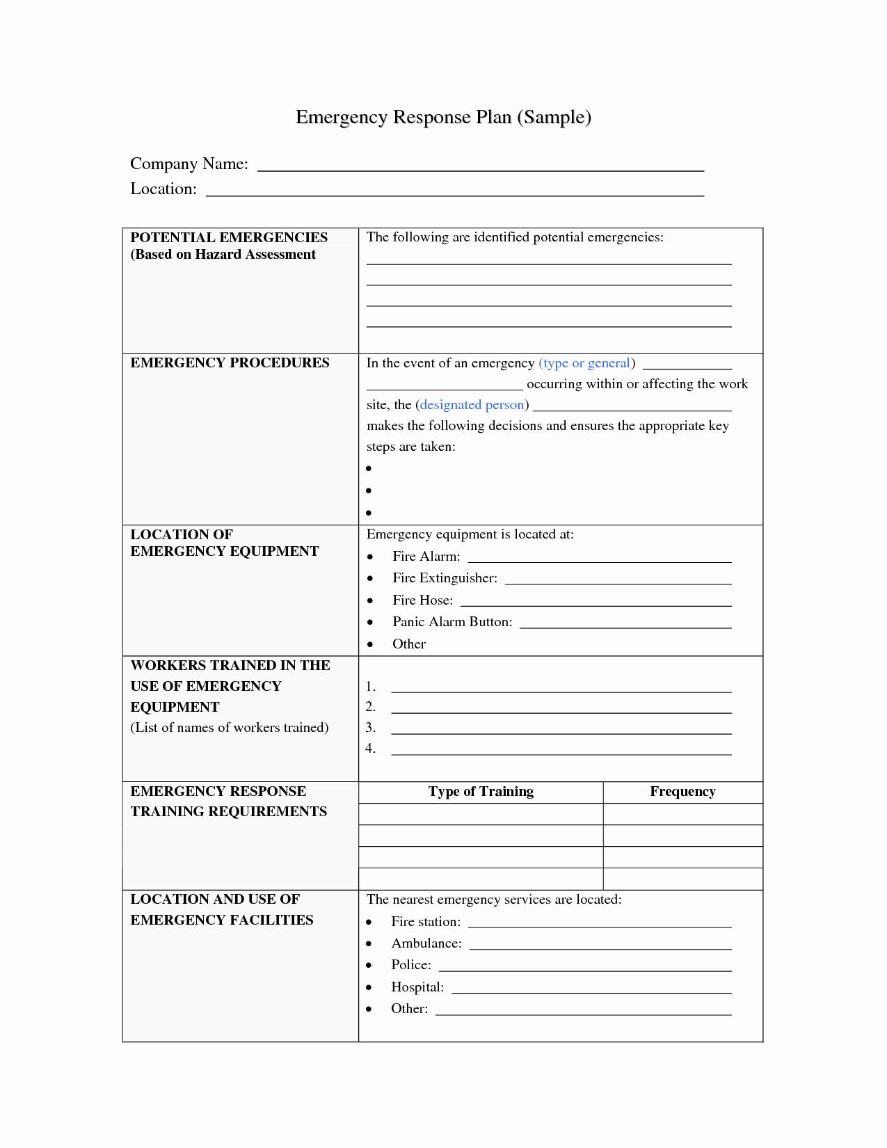 Incident Response Plan Template Luxury Best S Of Sample Emergency Plan Emergency