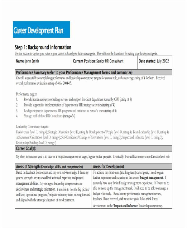 Individual Career Development Plan Template Awesome 58 Development Plan Examples & Samples Pdf Word Pages
